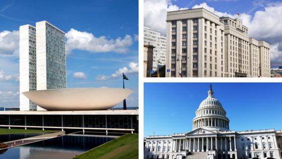 Congresso Nacional Legiferante (Brasil), Duma (Rússia) e Capitólio (EUA)